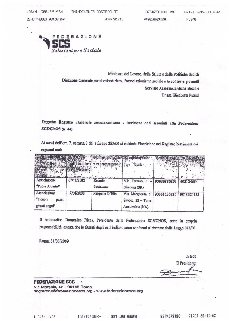 Iscrizione Registro A.P.S.